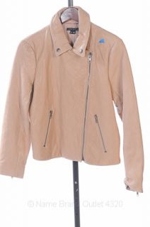Theory L 12 Frosted Pink Madigan Crop Leather Jacket Asymmetric Quilt