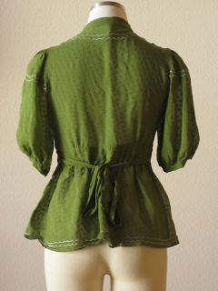 Anthropologie Maeve Olive Green Swiss Dot Sheer Silk Peplum Hem Blouse