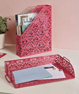 Punched Metal Folder File Magazine Holder Pink Office Desk Top