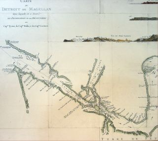 Cook Large Antique Map of The Straits of Magellan South America