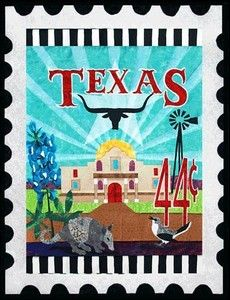 Texas State Stamp Longhorn Amadillo Zebra Quilt Pattern