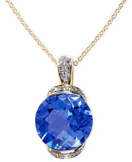 EFFY Collection 14k Gold Necklace, Blue Topaz (7 7/8 ct. t.w.) and
