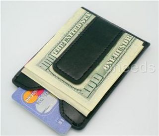 Black Leather Magnetic Money Clip ID Wallet Card Holder