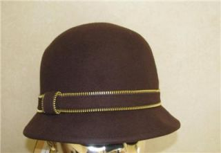 Ladies Womans Magid Brown Wool Felt Cloche Bucket Hat w Zipper Trim