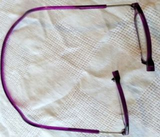 Click able magnetic front closure reading glasses NEW purple frame +2
