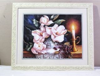 HOME INTERIOR MAGNOLIA GRAPES FLORAL FRAMED PRINT ART PICTURE NEW #1