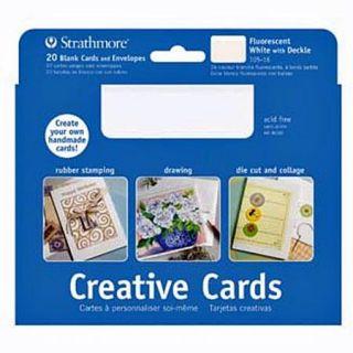 Blank Greeting Cards Envelopes 40 Pcs Fluorescent White w Deckle Edge
