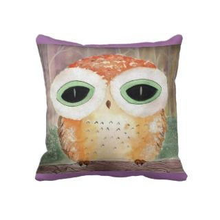 Green eyed Owl  American MoJo Pillow