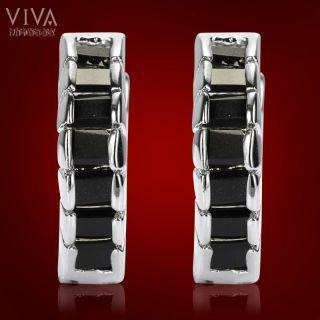 New Style Emerald Cut Onyx White Fashion Jewelry Earrings