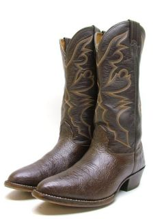 Mens Larry Mahan Dark Brown Buffalo Rodeo Cowboy Western Boots Sz 9 D