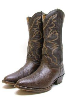 Mens Larry Mahan Dark Brown Buffalo Rodeo Cowboy Western Boots Sz 9 D