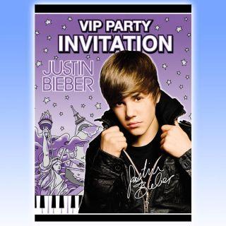 Justin Bieber VIP Party Invitations Plus Envelopes