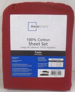 Mainstays 100 Cotton Twin Sheet Set Red Sedona