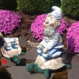 Concrete Garden Gnome Statue on a turtle, Concrete Garden Gnome Statue