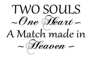 Two Souls One Heart Made in Heaven Vinyl Wall Art Words Decals