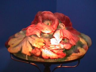 Authentic PAIRPOINT Puffy POPPY Lamp RED & PINK Flowers SHADE Signed