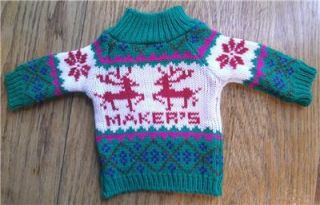 Makers Mark 2011 Holiday Christmas Whiskey Bourbon Bottle Sweater Ski
