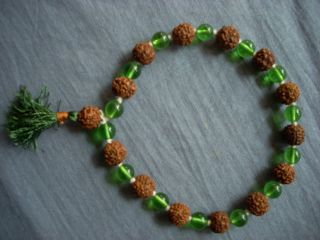 Combination Green Crystal Prayer Mala Meditation Wrist Mala Bracelet