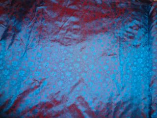 100 Pure Silk Brocade Fabric Iridescent Blue Red Color 44