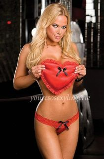 Valentine Red Stretch Satin Lace Thong Heart Pillow