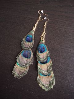 Urban Outfitters Peacock Feather Duster Earrings New