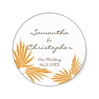 Orange palm leaves tropic wedding favor seal label sticker