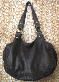 Carla Mancini Gorgeous Soft PEBBLED Leather Dark Brown Large Hobo