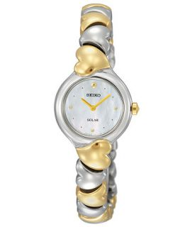 Seiko Watch, Womens Solar Two Tone Heart Shaped Stainless Steel