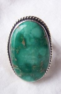 Navajo Silver Ray Sterling Silver Kings Manassa Turquoise Ring