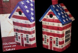 Warren Kimble Colonial Flag Birdhouse Cookie Jar