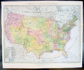 1849 Flemming Antique Map The United States of America