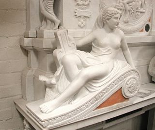 4753 Carved Carerra Marble Figural Fireplace Mantel