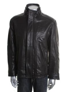 Marc New York Black Leather Funnel Neck Zip Snap Front Motorcycle