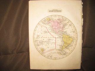 Antique 1852 Western Hemisphere World Handcolored Map United States