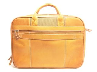 CLARK & MAYFIELD Mapleton 18 Tan LEATHER Laptop Portfolio Briefcase