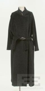 Max Mara Black Alpaca Wool Belted Long Coat Size 8