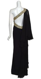 Marchesa Couture Black Silk Beaded Gown Dress 14 New