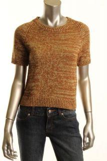 Marc Jacobs New Brown Metallic Wool 1 4 Zip Back Short Sleeve Pullover