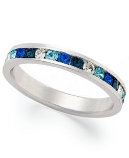 Traditions Sterling Silver Ring, Channel Set Blue Swarovski Crystal
