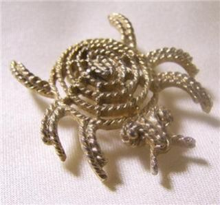 Vintage Mamselle Costume Jewelry Gold Bug Brooch Pin