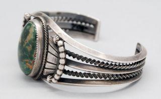 Vintage Navajo Domed King Manassa Turquoise Sterling Silver Bracelet