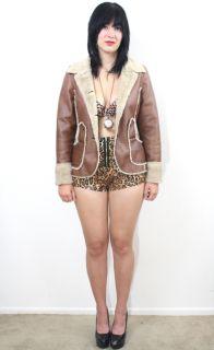 Vtg 70s Soft Leather Shearling Faux Fur Hippie Aviator Boho Bomber