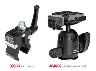 Manfrotto 386BC Nano Clamp 494RC2 Ball Head Kit
