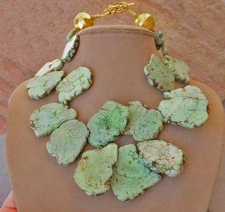 MINT TURQUOISE SLAB NECKLACE PENDANT GOLD PALE LIME GREEN ST PATRICKS