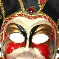 Mardi Gras Venetian Masquerade Red Black Full Face Mask