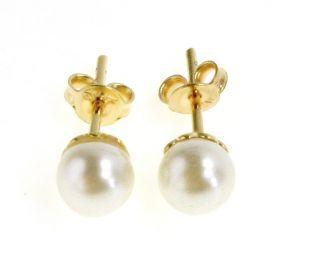 Gold 18K GF 5mm White Plain Pearl Classic Earrings Girl Kids Push Back