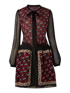 Custo Barcelona Vancouver poppus black silk chiffon dress Black