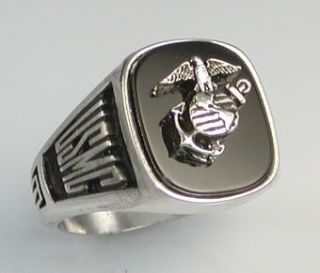 US Marine Corps Onyx Signet Ring Rhodium Finish