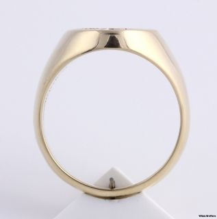 Marine Corps Signet Ring 14k Yellow Gold Solid Back Ring 16 6g