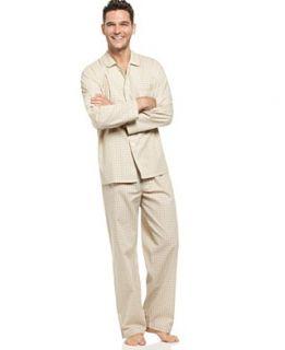 Club Room Sleepwear, Long Sleeve Woven PJ Top and Pant Set